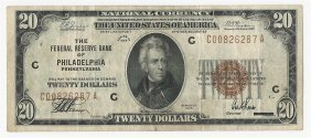 1929 $20 National Currency Note Bank Of Philadelphia,