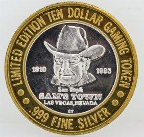 Sam's Town Las Vegas $10 Casino Gaming Token .999 Fine