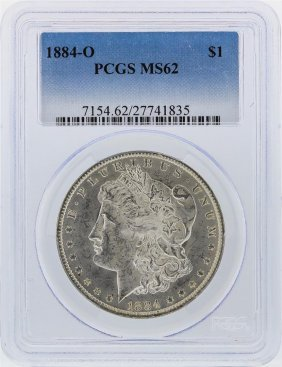 1884-o $1 Morgan Silver Dollar Pcgs Graded Ms62
