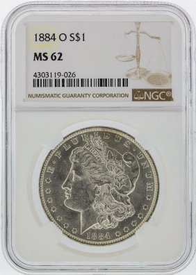 1884-o $1 Morgan Silver Dollar Ngc Graded Ms62