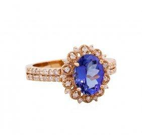14kt Rose Gold 2.01ct Tanzanite And Diamond Ring