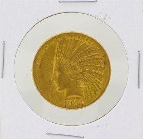 1914-s $10 Indian Head Eagle Gold Coin Au