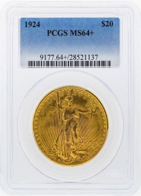 1924 $20 St. Gaudens Double Eagle Gold Coin Pcgs Ms64+