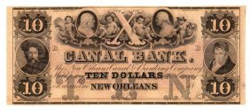 1800s $10 Canal Bank New Orleans Obsolete Currency Note