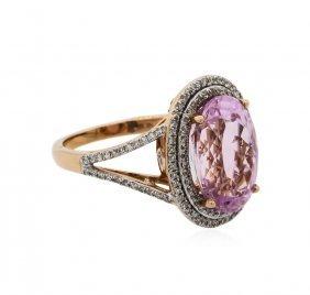 14kt Rose Gold 7.76ct Kunzite And Diamond Ring