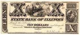 1800s $10 State Bank Of Illinois Obsolete Currency Note