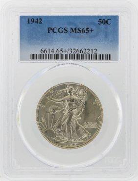 1942 Walking Liberty Half Dollar Pcgs Graded Ms65+