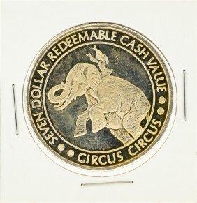 Circus Circus Hotel $7 Casino Gaming Token .999 Silver