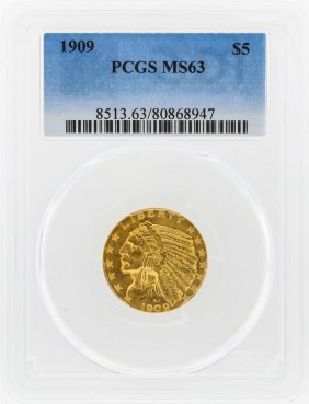 1909 $5 Indian Head Half Eagle Gold Coin Pcgs Ms63