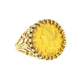 1897 $5 Liberty Head Gold Coin In 14k Gold Ring