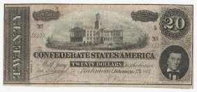 1863 $20 The Confederate States Of America Note