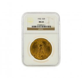 1922 $20 St. Gaudens Double Eagle Gold Coin Ngc Graded