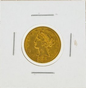 1851 No Motto $5 Liberty Head Gold Coin