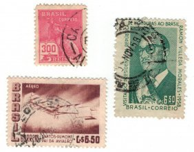 Brazil Postage Stamps Lot Of 3