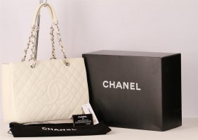Authentic Chanel Grand Shopping Tote White Caviar