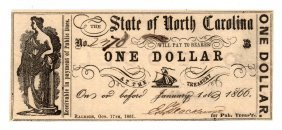 1866 $1 State Of North Carolina Obsolete Note
