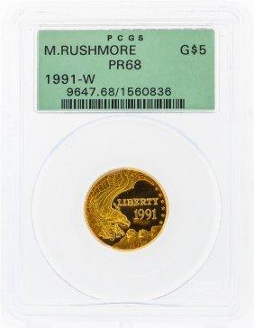 1991-w $5 Mount Rushmore Commemorative Gold Coin Pcgs
