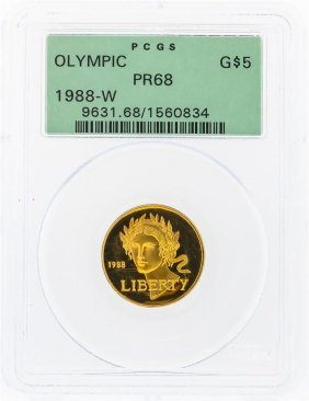 1988-w $5 Olympic Commemorative Gold Coin Pcgs Pr68