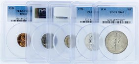 1936 Pcgs Graded (5) Coin Proof Set