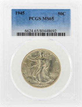 1945 Walking Liberty Half Dollar Coin Pcgs Ms65