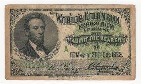 1893 World's Columbian Exposition Chicago Ticket