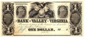 1800's $1 Bank Of The Valley In Virginia Obsolete