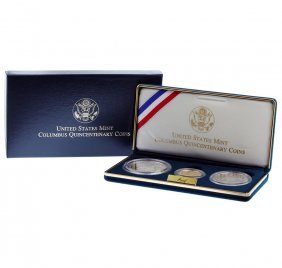 1992 Us Mint Columbus Quincentenary (3) Proof Coins Set