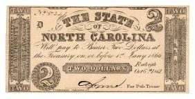 1861 $2 The State Of North Carolina Confederate