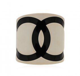Authentic Chanel Black And White Logo Resin Cuff