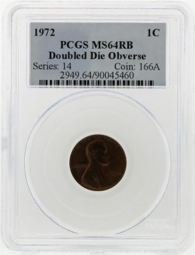 1972 Double Die Lincoln Penny Pcgs Graded Ms64rb