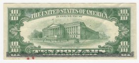 1963-a $10 Federal Reserve Note Error Partial Offset