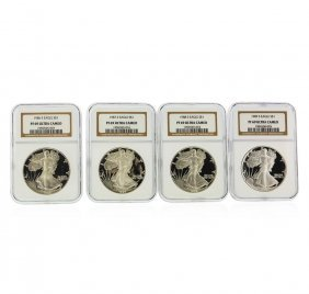 Set Of (4) 1986-1989 $1 American Silver Eagle Coins Ngc