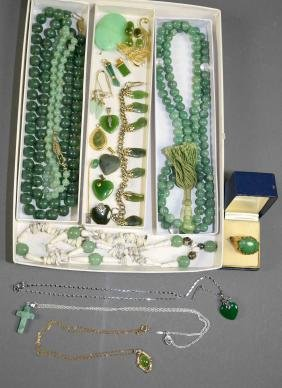 20+pcs Assorted Jade Jewelry - Includes A Gold Vermeil