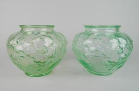 Pair Of Consolidated Glass Vases