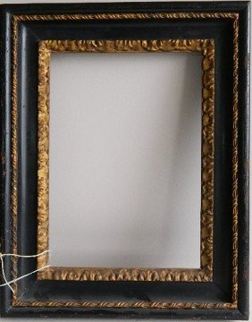 Black Lacquer And Gilded Hand-carved Frame