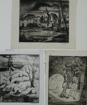 Emil Ganso 3 Etchings