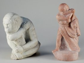 20th C. American School 2 Marble Sculptures