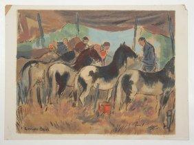 7 Living American Artists Silkscreens, Ca. 1940's