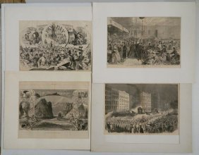 4 Double-page Wood Engravings, Harper's Weekly