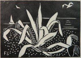 Flora Schofield Woodcut