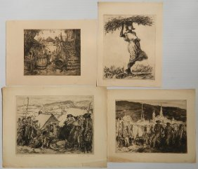 George Wright 4 Etchings