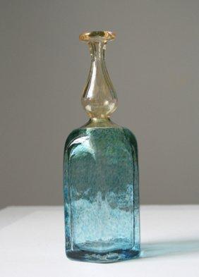 Kosta Boda Blue And Yellow Vase Signed Bertil Vallian