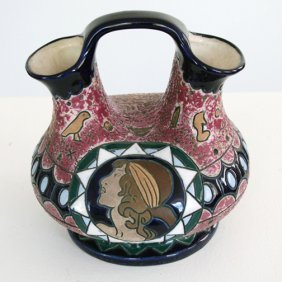 Czech Amphora Carved & Enameled Art Deco Pottery Vase