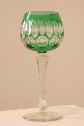 Bohemian Green Cut To Clear Glass Wine Goblet