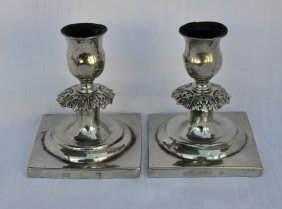 Rare Pair Of Silver Shabat Candlesticks From Poland.