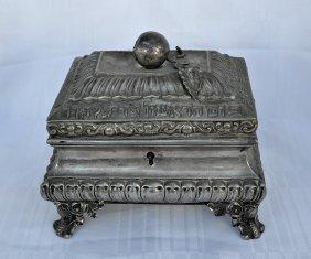 Austro-hungarian Silver Etrog Box - Hebrew Enscripted