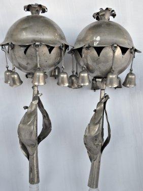 Eastern European Silver Torah Finials - 1920's
