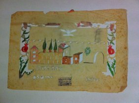 1910 Decoupage To Decorate The Sukkah. With A Picture
