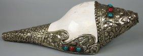 20th Century Tibetan Silver-mounted Conch