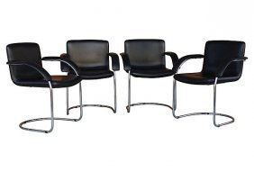 Leather Arm Chairs By Saporiti Italia - Set Of 4